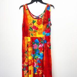 JAM'S WORLD Vintage VTG Tropical Maxi Dress M